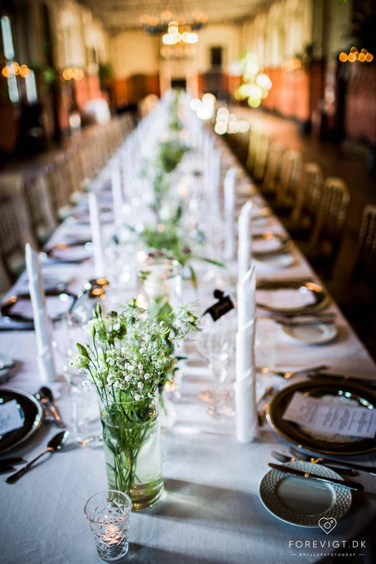 Et bryllup på Holckenhavn Slot. Bryllup Holckenhavn bordpynt